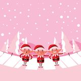 Helpers santa claus for xmas with snowscape vector illustration