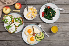 Helpful breakfast from different of dishes Royalty Free Stock Image