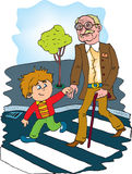 Helpful child. Ren to help the old man. color vector Stock Photo