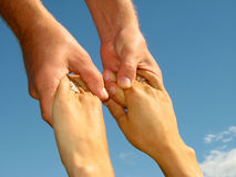 Helpful hands. Man and woman hands couple, close up Royalty Free Stock Photography