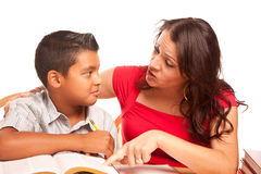Helpful Hispanic Mother and Son Studying Royalty Free Stock Photography