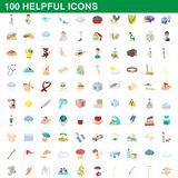 100 helpful icons set, cartoon style. 100 helpful icons set in cartoon style for any design illustration vector illustration