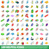 100 helpful icons set, isometric 3d style. 100 helpful icons set in isometric 3d style for any design vector illustration Royalty Free Stock Photos