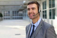 Helpful phone operator with copy space Royalty Free Stock Image
