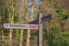 Quirky signpost in Shere, England. This way, that way, somewhere else. Which way to go? A quirky wooden signpost, in the Surrey village of Shere, giving a royalty free stock photo