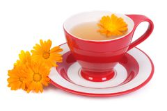 Helpful tea with marigold flowers isolated. On white background stock image