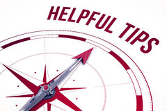 Helpful tips against compass. The word helpful tips against compass royalty free illustration