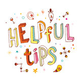Helpful tips. Unique hand lettering stock illustration