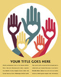 Helpful united hands design. Helpful united hands design with space for your text vector illustration