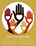 Helpful united hands design. Helpful united hands design with space for text royalty free illustration
