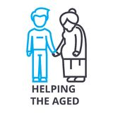 Helping the aged thin line icon, sign, symbol, illustation, linear concept, vector stock illustration