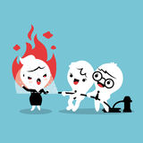 Helping angry woman to calm down illustration. Friends helping by spray water with fire hose to calm down angry woman concept cartoon illustration Royalty Free Stock Images