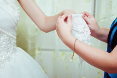 Helping the bride Royalty Free Stock Photos