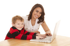 Helping on computer Stock Photo
