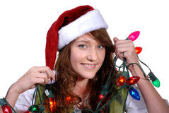 Helping Decorate the Tree Royalty Free Stock Photography