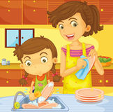 Helping with the dishes. Illustration of mother and daughter doing the washing up Royalty Free Stock Photography