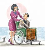 Helping each other. A woman is pushing her partner on the wheel chair Stock Photos
