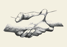 Helping Each Other. Sketch illustration of two hands holding each other strongly stock illustration