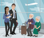 Helping the elderly during the flight. Airport Service. Vector royalty free illustration