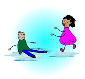 Helping the elderly. Help the old people fall down vector illustration