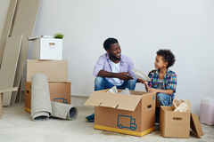 Helping father Stock Image