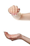 Helping. Female streched hands Stock Photo