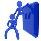 Helping friend 3d public sign icon. Illustration Royalty Free Stock Photo