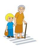 Helping Grandma Royalty Free Stock Image