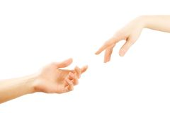 Helping hand. Male and female hands reaching for each other. Isolation on a white background Royalty Free Stock Photos