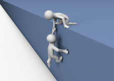 A helping hand. Render of a person helping another climb a wall Royalty Free Stock Image