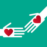 Helping hand. Silhouette helping hand whit  hearts Stock Photos