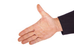 Helping hand. Caucasian hand reaching isolated on a white background Stock Photo