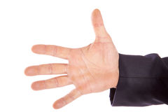 Helping hand. Male spread hand on a white background Royalty Free Stock Photography
