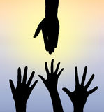 Helping Hand From Above - Relief Aid Rescue Royalty Free Stock Photos