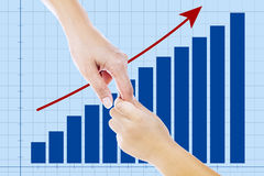 A helping hand on business growth. A helping hand and a profit bar chart showing improvement in business performance Royalty Free Stock Photography