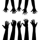 Helping hand  concept. Adults care about children. Helping hand concept with hands silhouettes. Adults care about children Stock Images