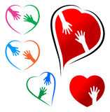 Helping hand. Concept with heart on white background Stock Images