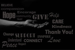 Helping hand concept. Hand of a man palm up reaching. giving a helping hand concept illustration, word cloud Royalty Free Stock Photos