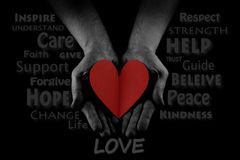 Helping hand concept, Man`s hands palms up, giving red heart, reaching out. Word Cloud royalty free stock photography