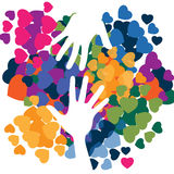 Helping hand. S. Abstract illustration in love colorful icon, t-shirt, background, etc Stock Photography