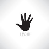 Helping hand icon. Human hand silhouette with shadow and lettering Royalty Free Stock Photography