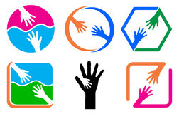 Helping hand. Illustration of helping hand logos Stock Image