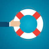 Helping hand with lifebuoy. Text can be added Stock Photography