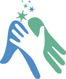 Helping hand logo. Illustration art of a helping hand logo with isolated background Stock Photo