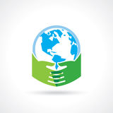 Helping hand make tree on earth - vector illustration.  Stock Photos