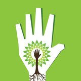 Helping hand make tree inside the tree Royalty Free Stock Photography