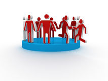 Helping hand member to join up with large social group Royalty Free Stock Photo