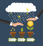 Helping Hand. Money Tree, Financial Growth Flat Concept Vector I Stock Image