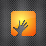 Helping hand orange icon Royalty Free Stock Image