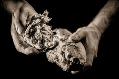 A helping hand with piece of bread Royalty Free Stock Images